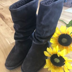 Land's End Pull on Slouched Lined Boots Size 6.5